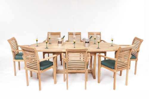 MONTE CARLO 17 PIECE GRADE A TEAK DINING SET NEW 2013 MODEL