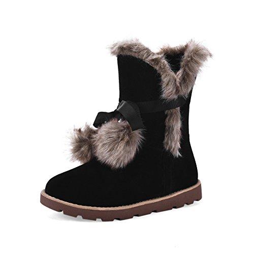 KAFEI Das Mädchen Bootie schwarz matt und 38 Schneeschuhwandern (Schwarze Wildleder-bootie)