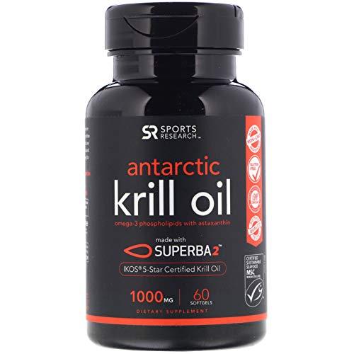 Sports Research Antarktis Krill Öl (Doppelstärke) 1000Mg Omega-3 Fettsäuren Epa, Dha Und Astaxanthin | 60 Flüssige Softgel - 2 Monats-Vorrat