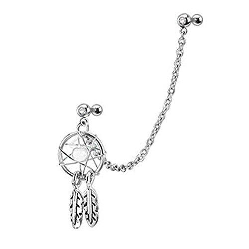 Kreatives Design Traumfänger-Ohrpiercing Helix Tragus Cuff Ohrpiercing Knorpel Ohrring, 316L Chirurgenstahl, weiß, 4 mm