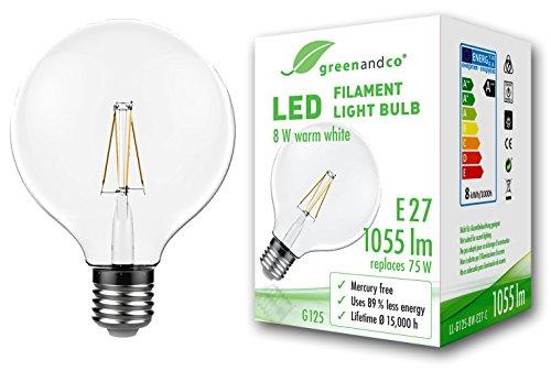 greenandco® Vintage Glühfaden LED Lampe Globe Form im Retro Design flimmerfrei ersetzt 75W E27 G125 8W 1055lm 2700K warmweiß 360° 230V nicht dimmbar 2 Jahre Garantie