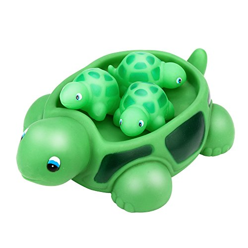 ForgetMe Toy Shrilling Rubber Cute Sea Turtle Family Bathtub Pals Floating Bath Tub Toy Rubber Creatures Animals Water Toy Favors Baby Toy