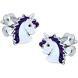 Pendientes de plata de ley con forma de unicornio color púrpura brillante
