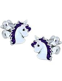Purple Glitter Unicorn Earrings - Sterling Silver Gift
