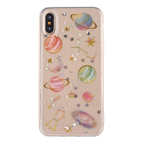 Für iPhone XS Hülle, Amse-MIUMIU Klar Bling Planet Weichen Durchsichtige Schutzhülle Case-Crystal Clear Silikon TPU Fall Deckung für iPhone XS 5.8 Zoll (Transparent) (Crystal Planet)