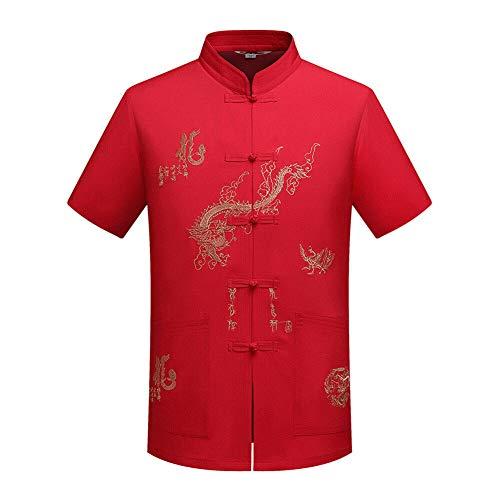 Xinvivion Herren Tang Anzug, Chinesisch Traditionell Stehkragen Kurzarm Drachen Muster Tai Chi Shirt Kampfkunst Kung Fu Hemd Uniform (Red Wings Kostüm)