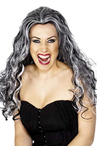 Frauen Vampir Perücke - Smiffys Damen Renaissance Vampir Perücke, Grau-Schwarz,