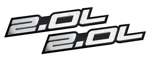 2 x (pair/Set) 2.0L Liter Embossed SILVER on Black Highly Polished Silver Real Aluminum Auto Emblem Badge Nameplate for Honda B20 B-20 Civic Si LX EX CRV CR-V Del Sol S2000 F20C Fit Prelude Acura Integra ILX RSX Nissan Sentra S SR SR20-DET RB20-DET 240SX 200SX Mazda 3 MX5 MX-5 Miata Sport 626 LX Grand Touring Prot\xe9g\xe9 Mitsubishi Ralliart 4G63 4B11T Lancer EST GSR OZ EVO Evolution X Eclipse GS GST Spyder Eagle Talon Galant Mighty Max Outlander ES Sedan coupe 2 3 4 5 2dr 3dr 4dr 5dr door hatc (Rsx Emblem Honda)
