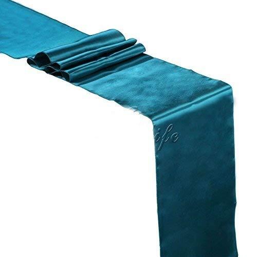 Xinsushp Home Hochzeit 12 x 108 Zoll Satin Tischläufer für Hochzeitsbankett Dekoration-Dark Teal Packung mit 15