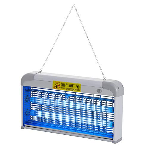 Outsunny Lampe UV Anti-Insectes Anti Moustique Tue Mouche électrique destructeur d'insectes 30 W Gris