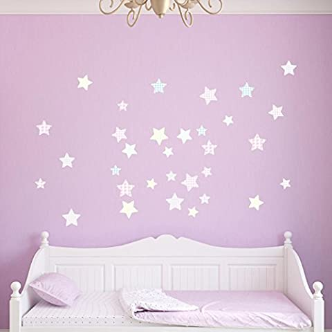 Supertogether Pink Patterned Stars Childrens Wall Stickers - Kids Boys and Girls Bedroom Vinyl Decals (Pack of