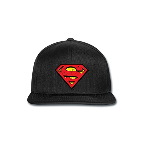 Spreadshirt DC Comics Superman Logo Used Look Snapback Cap, Schwarz/Schwarz