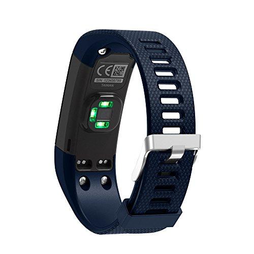 Janly Bracelet de Remplacement en Silicone Souple Bracelet Sport Wristband Accessoire pour Garmin Vivosmart HR + (Bleu)