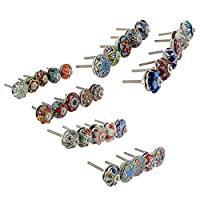 """Product Type - Drawer Pulls / Knobs Diameter Of each Knobs - 1.5"""" (inch) Round Depth Of each Knobs - 1.5"""" (inch) Color - Mix Color Design- Blue, Pastel red & White Dotted Multi Stylish Designed and Shapes Like Pictures Materials - Ceramic Quantit..."""