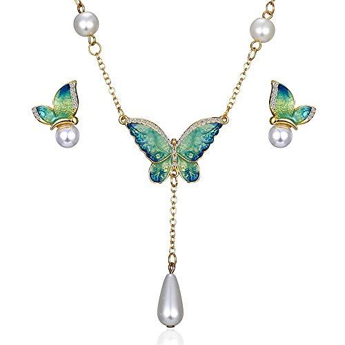 SSLL Halskette Schmetterling Schmuck Set Emaille Schmetterling Ohrringe Halskette Anhänger Sets Perlen Frauen Hochzeit Schmuck, H