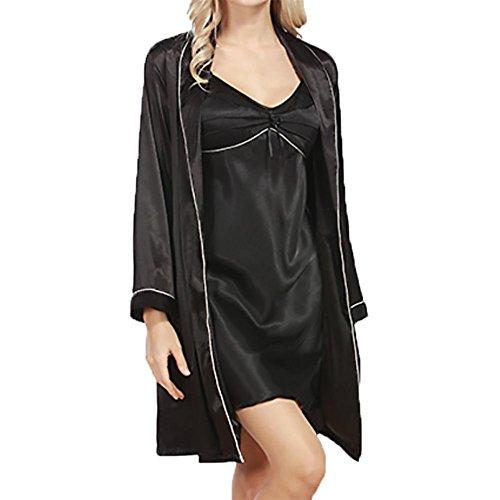 Chinesische Kostüme Gewand (YUYU Damen Gewand Nachthemd Zweiteiler Anzug Babydoll Seidenimitation Nachthemden Sommer Luxus , black ,)