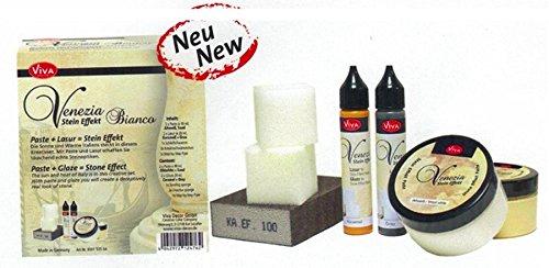 Viva Decor Venezia Stein Effekt Set (1 x Bianco) - Für wunderschöne Steinoptik inkl. Lasur für Schattierungen & Effekte