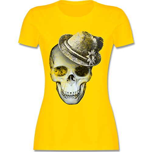 Shirtracer Oktoberfest Damen - Totenkopf mit Filzhut - M - Gelb - L191 - Damen T-Shirt Rundhals