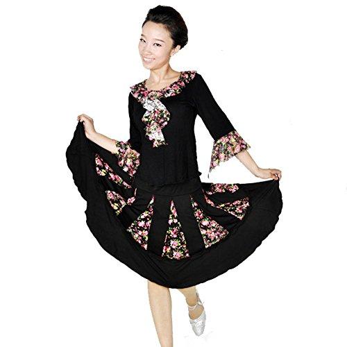 Floral Scarf Belt (Byjia Latin Square Tanzkleid Floral Spitze Frauen Ballroom Kostüm Big Pendel Rock Praxis Match Uniformen Professionelle Performance Sets Black L)