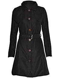 Womens Long Sleeve Button Cord Belted Mac Jacket Rain Trench Coat