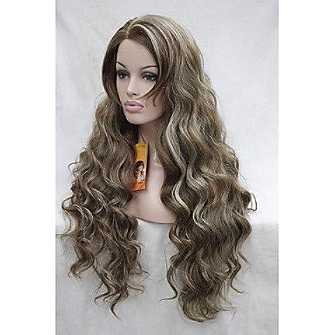 OOFAY JF ® merletto e calore di alta qualità amichevole marrone chiaro capelli sintetici con riflessi biondi ondulati lunghi parrucca piena