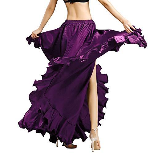 ROYAL SMEELA Bauchtanz Rock für Frauen Bauchtanz Kostüm Flamenco Rüschen Big Swing Röcke Maskerade Elastischer Bund Hoher geschlitzter Maxi-Rock Kleid (Maskerade Kleider Kostüm)