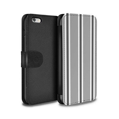 Stuff4 Coque/Etui/Housse Cuir PU Case/Cover pour Apple iPhone 6+/Plus 5.5 / Sarcelle/Rouge Bande Design / Mode Bord Mer Collection Gris/Blanc Bande