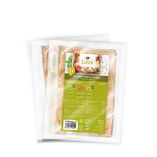 Lizza Low Carb Pizzaböden - Dünn & Knusprig | 2 Stk. je Packung | bis zu 95{2e06aa0afca069fd313ef4d956d8860e45be72f513d47c6922a0fd4c7c6189fe} weniger Kohlenhydrate | Ohne Gluten | für Keto, Low Carb Diät sowie Muskelaufbau | Bio. Glutenfrei. Vegan. | 2x 160g
