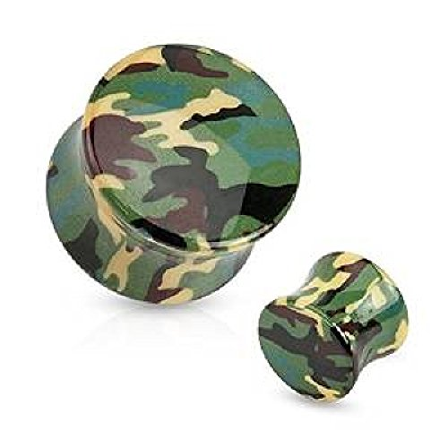 Piercing plug en acrylique camouflage Taille 14 mm