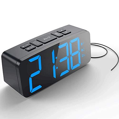 KIOio Reloj Despertador Digital, Reloj Despertador Doble de Radio FM, Pantalla LED con Formato de 12 Horas / 24 Horas, Puerto USB y batería de Respaldo