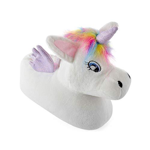 Childrens Plush 3D Novelty Unicorn Slippers