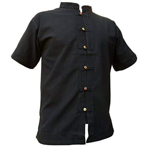 Panasiam - camicia fisherman in 3 colori, 4 taglie m, l, xl, xxl & xxxl, in 100% cotone, con bottoni in legno naturale fine, buona qualità nero xxxl