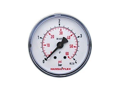 Preisvergleich Produktbild Ø 50mm Manometer 0-4 Bar Gewinde G 1/4 Zoll Hansa Flex Druckanzeige hinten