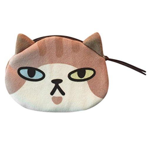 Damen Brieftasche, erthome Frauen Katze Gesicht Stil Geldbörse Mädchen Plüsch Nette Emoticons Pocket Wallet (C) (Zip Zurück Satchel)