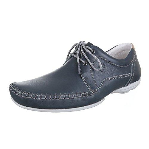 Herren Schuhe, 10154, HALBSCHUHE LEDER SCHNÜRSCHUHE Blau