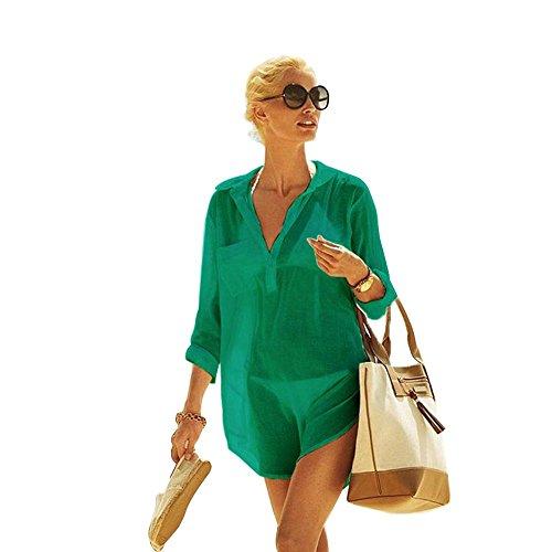 Damen Strandkleid aus Baumwolle mit reizvollem V-Ausschnitt und sexy Häkellook über den Bikini oder als sexy Sommer-Bluse zu tragen (CP-CT) (Light Green, Extra Large)
