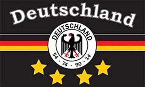 FRIP- XXL Riesenfahne Deutschland 4 Sterne Schwarz - Schwarz-Rot-Gelb Fan 2,50 x 1,50m Flagge Fahnen mit 2 Ösen