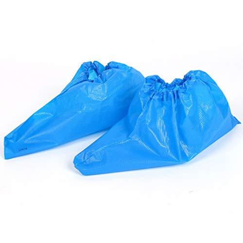 Einwegschuhüberzüge, Dicke PE-Kunststoff-rutschfeste Überschuhe, Boden, Teppich, Schuhprotektoren - 100 / Pack - Blau - Einheitsgröße (Size : 2 Packs) (Blauen Teppich Und Seile)