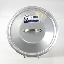 Pentole Agnelli Professional Aluminium 3 Mm. Round Heavy Lid With Small Loop Handle, Diameter 28 Cm.