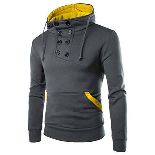 Koly_Uomini Retro Felpa con cappuccio delle parti superiori del cappotto del rivestimento Outwear (M, Grigio scuro)