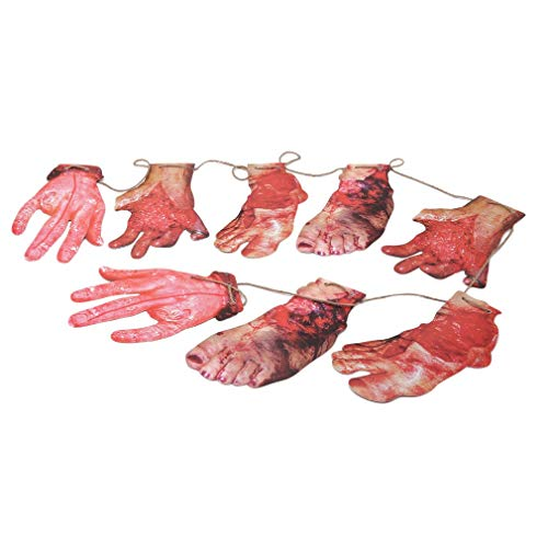 Fliyeong Premium Qualität 8 STÜCKE Girlande Folter für Halloween Dekorationen Halloween Party Indoor Outdoor Prop und Cosplay Decor, Faule Hände und Füße, 1