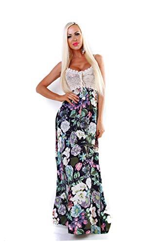 Fashion4Young 5495 Damen Maxikleid Sommerkleid Gesmokt Häkeltop Langes Kleid Geblümt -