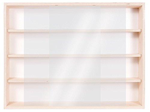 V80.4- Vitrine murale 80 x 39 x 8,5 cm Rayonnages rangement étagère en bois brut collection collection miniature collecteur affichage pion petit article vitres en plexiglas clair meuble armoire pas cher