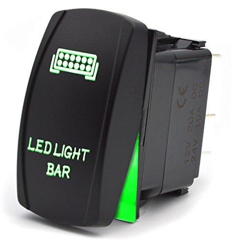 5-Pin Interruttore a Pulsante LED Luci ON/OFF Impermeabile Switch per Faro Della Barra Luminosa del Bagagliaio Della Barca 12V 20A/24V 10A Luce Verde