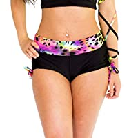 Wink Designs Drawstring Shorts (Medium, Rainbow/Black Lycra)