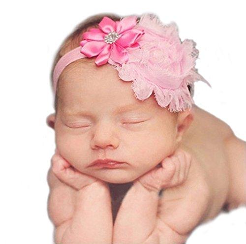 Haarband mit Blumen Tüll Strass Mädchen Baby Taufe Haarschmuck (Pink)