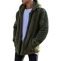 Flocking Overcoat For Men, Chaqueta con Capucha Blusa De Manga Larga Tops Abrigos Cálidos De Invierno Color Liso Fluffy Windbreaker Abrigo Frontal Abierto con Bolsillo