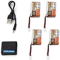 Freeday batería Recargable 4pcs ZOP Poder 3.7V 650mAh 25C Lipo 1S con Cargador de batería 4 1 USB para Aviones no tripulados helicóptero RC Car Racing