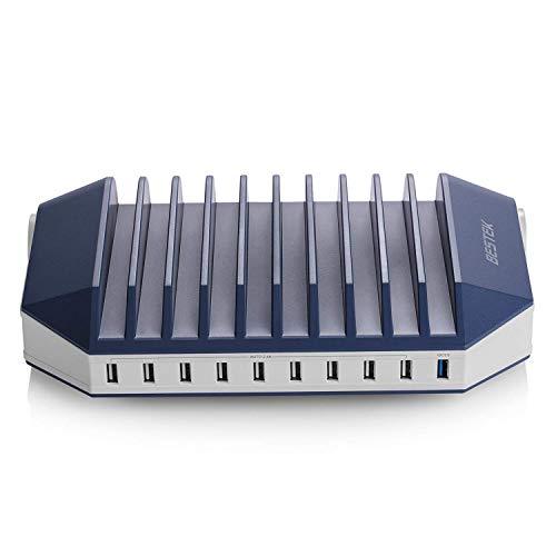 BESTEK USB Ladestation Mehrfach 10 Port USB Ladegerät mit 2 Steckdosen Dockingstation Organizer mit Schalter für Handy und Tablet 66W