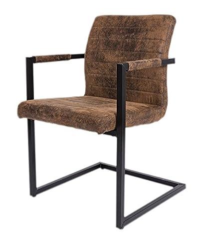 SAM® Esszimmerstuhl Stoff Wildlederoptik Parzivo, Stuhl mit Armlehnen, Schwingstuhl mit Eisen-Fuß (Stoffbezug Für Stühle)
